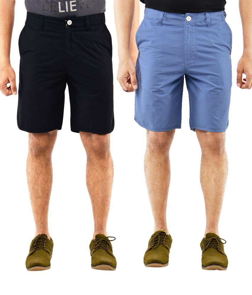 Blue Wave Exclusive Pack Of 2 Blue & Black Shorts