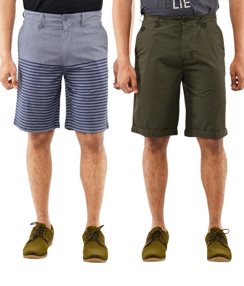 Blue Wave Fascinating Pack Of 2 Green & Blue Shorts