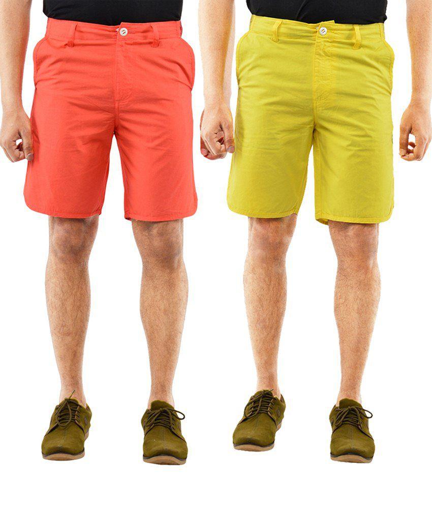 Blue Wave Stylish Pack Of 2 Yellow & Peach Puff Shorts