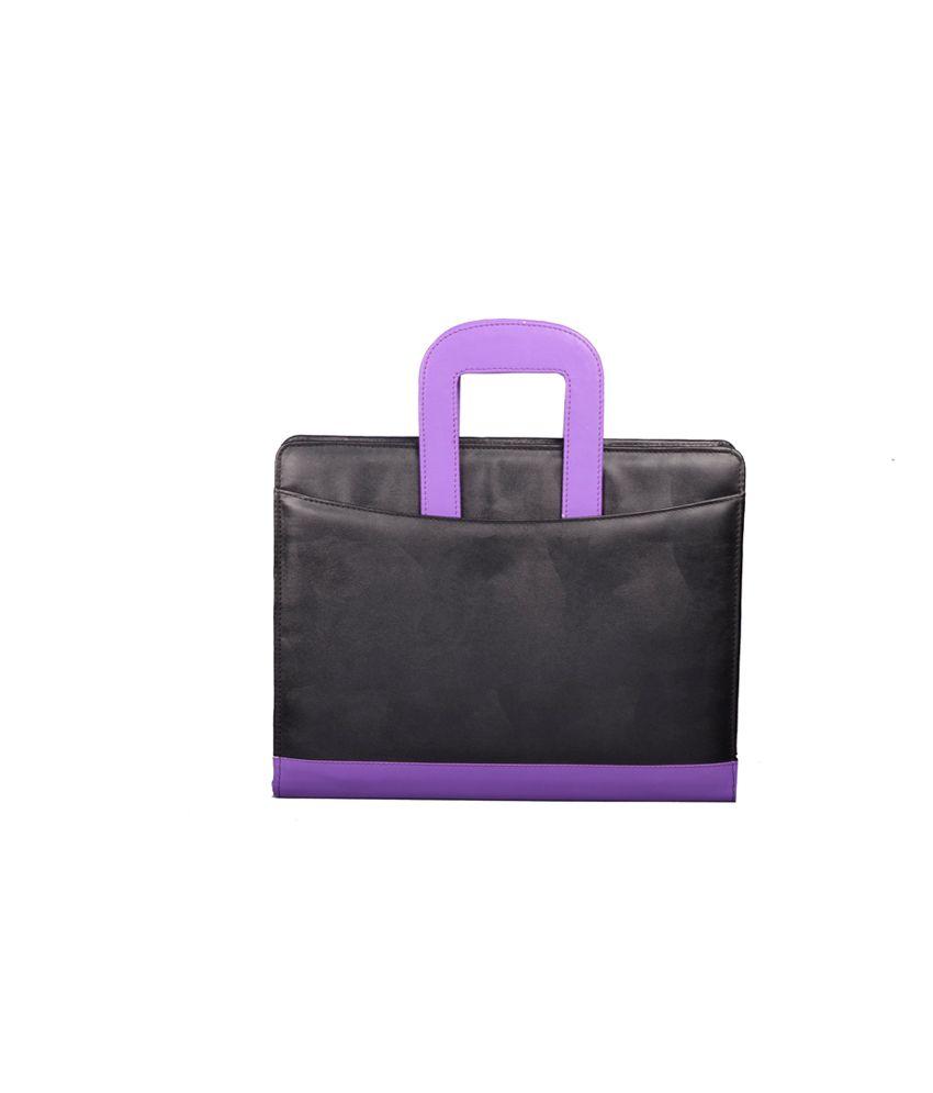 Coi Black And Purple Leatherite Briefcase Conference Folder / Document Folder
