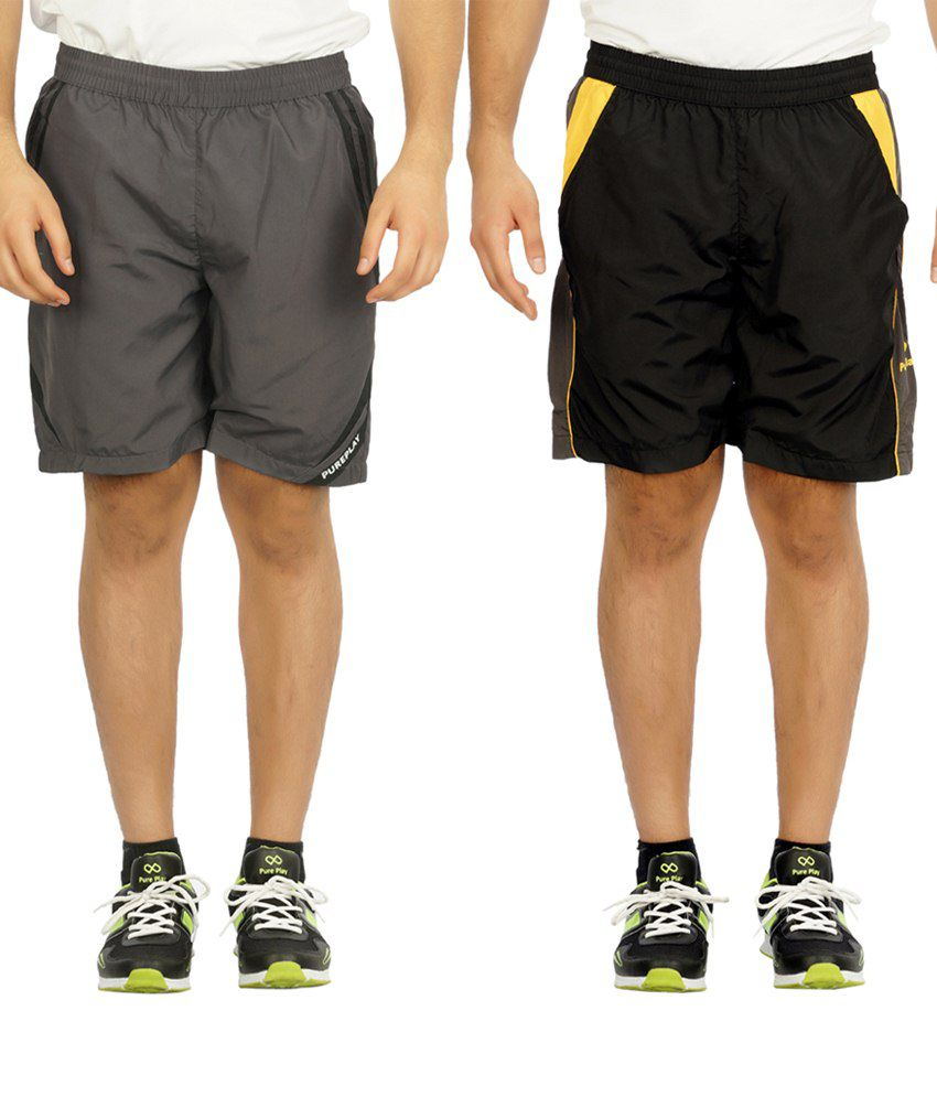 Pure Play Flawless Pack Of 2 Gray & Black Running Shorts