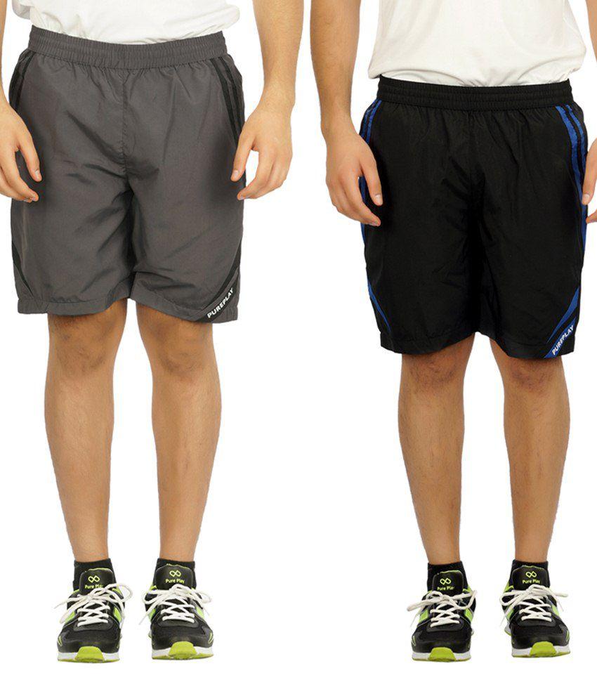 Pure Play Modish Pack Of 2 Black & Gray Running Shorts