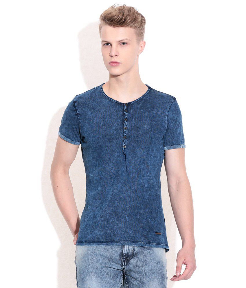 Sisley Blue Solid Henley T-Shirt