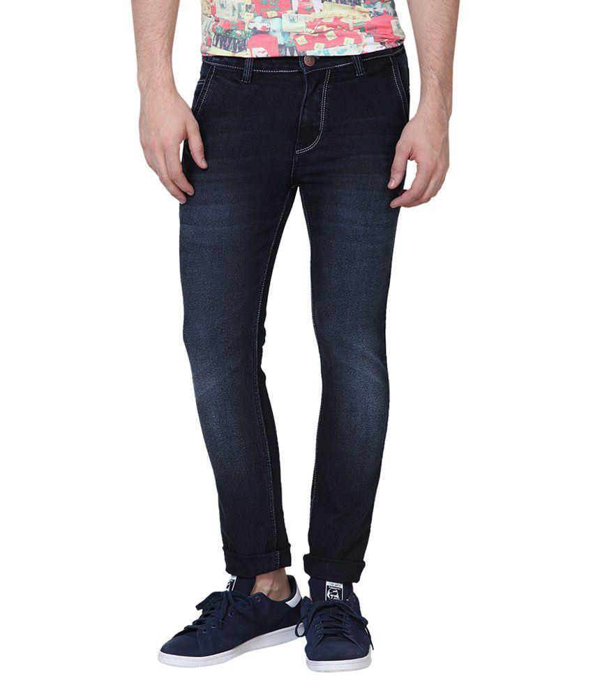 Super-x Blue Cotton Skinny Jeans