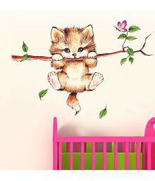 StickersKart Wall Stickers Little Catty on Branch 6410 (60x45 cms)