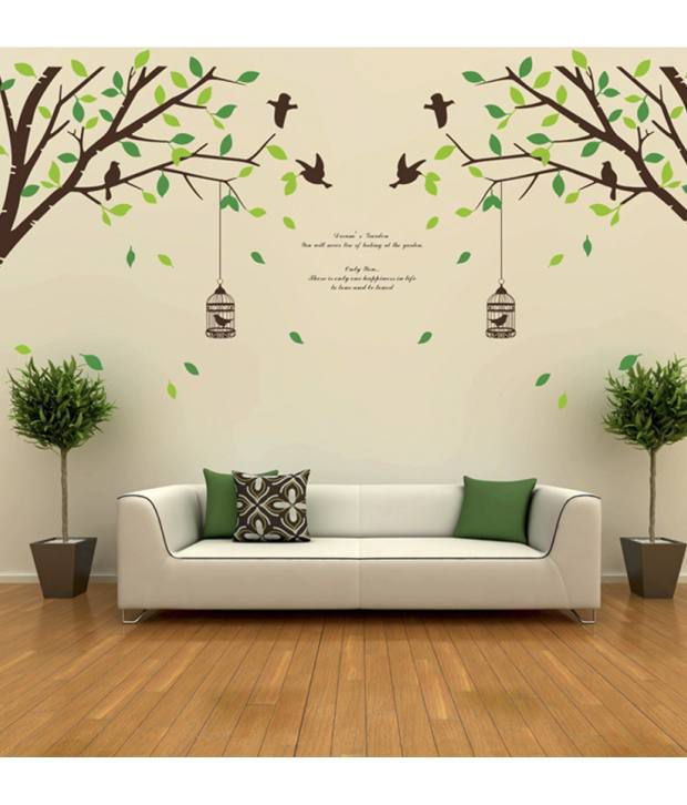 Stickerskart wall stickers falling leaves birds cage giant size double sheet 205 2x50x70