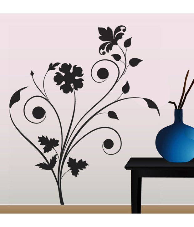 stickerskart wall stickers living room floral design 57125 (60x90