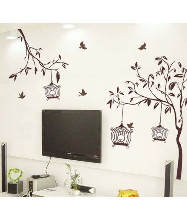 Stickerskart wall stickers wall decals brown tree with birds and cages 7127 60x90 cms