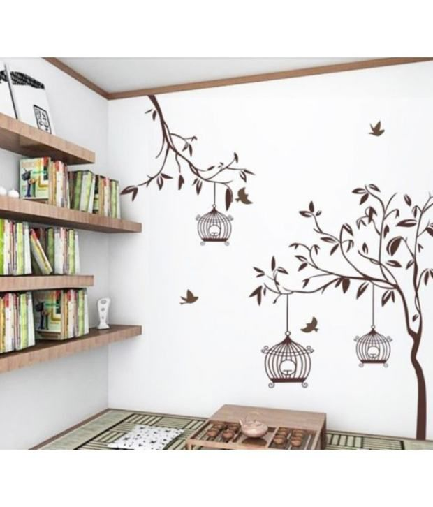 StickersKart Flowers Trees PVC Brown Wall Stickers