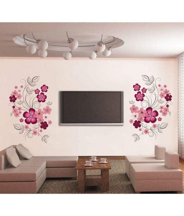 stickerskart wall stickers pink flowers with black vine 7151 (60x90