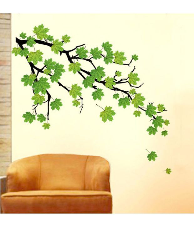 stickerskart wall stickers green autumn leaves branch 5768 (90 cms