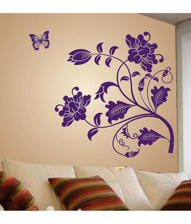 stickerskart wall stickers wall decals purple vine flower 5710