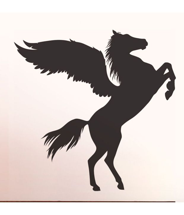 StickersKart Wall Stickers Wings of Horse Silhouette 6956 (60x90 cms) ... : horse silhouette wall art - www.pureclipart.com