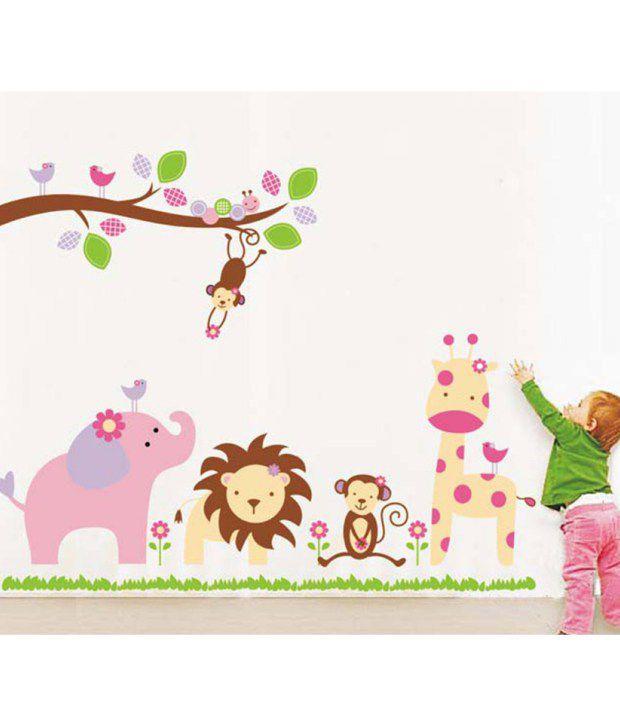 Stickerskart Wall Stickers Baby Cartoon Animal Kingdom Kids Room 869
