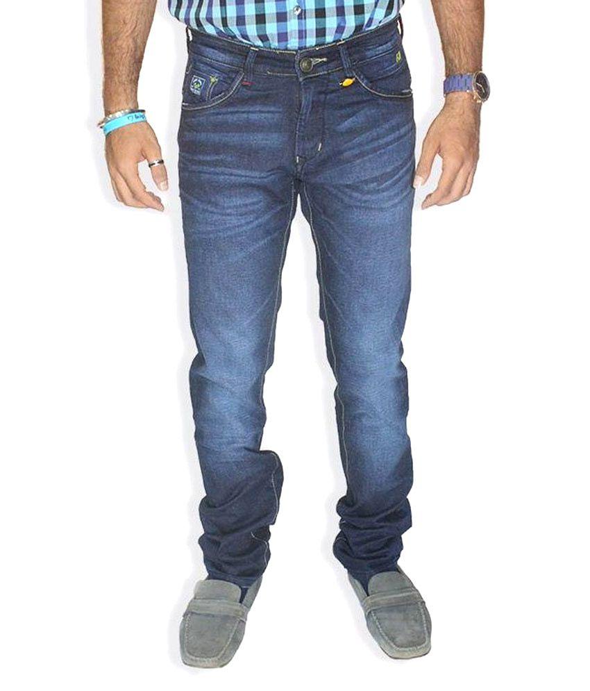 Fji Blue Cotton Jeans For Men