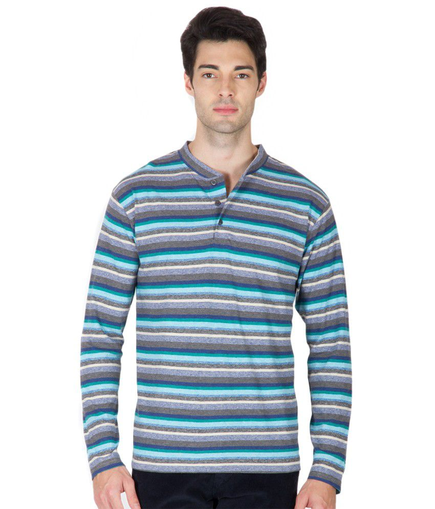 Hypernation blue and black stripe henley neck long sleeve for Black and blue long sleeve shirt