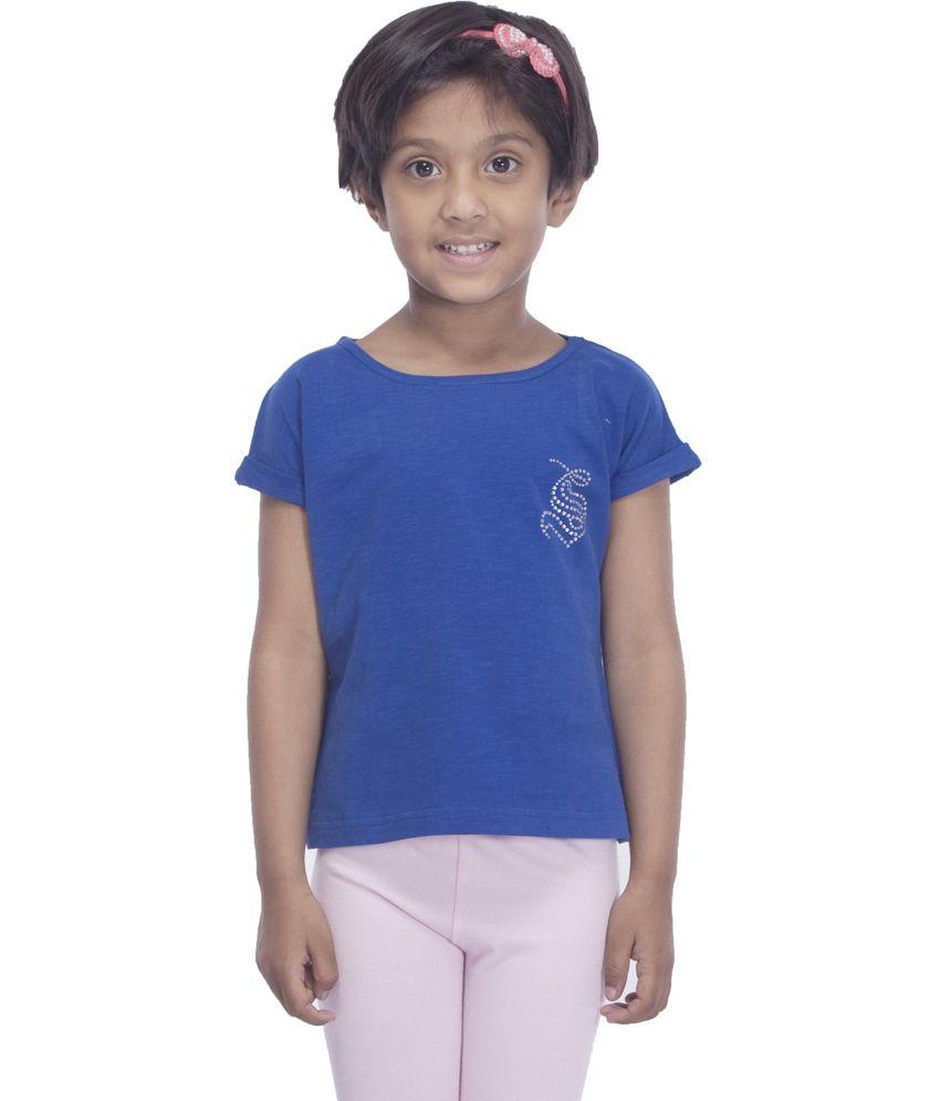 Round Neck T Shirt - Buy Sera Blue Cotton Round Neck T Shirt Online ...