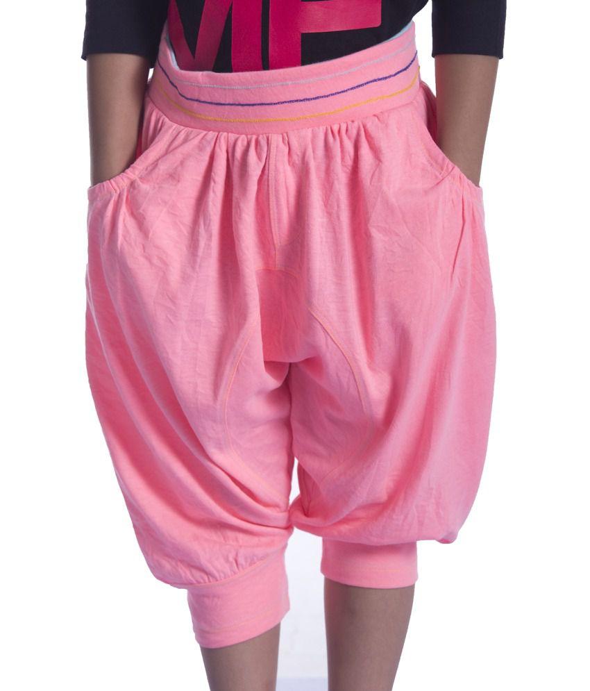 Sera Pink Cotton Elastic Capris