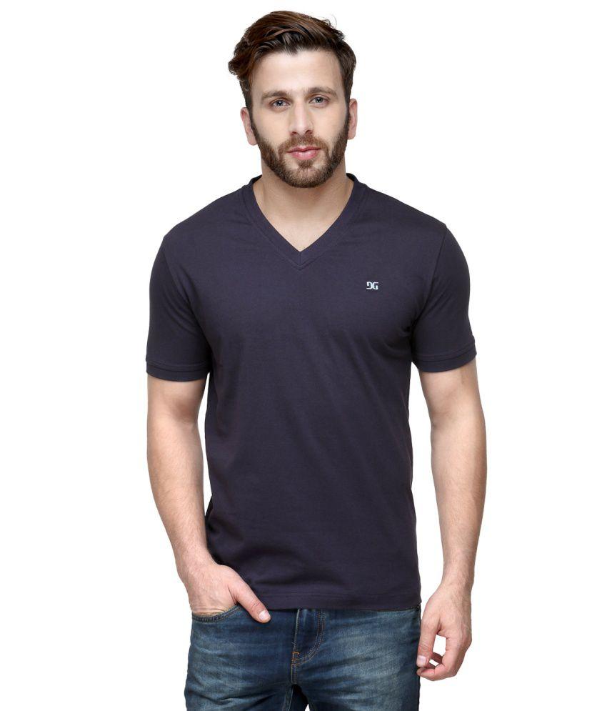 Dazzgear Navy Cotton V-Neck Half Sleeve T Shirt