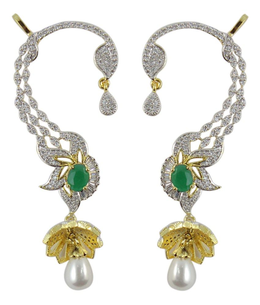 how much are earrings much more ear cuff green cz pearl stylish wear 5756
