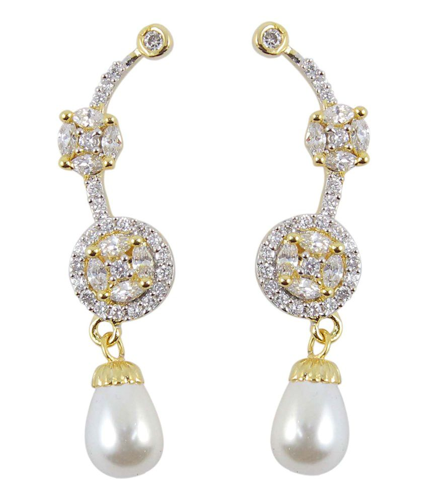 how much are earrings much more waer white cz pearl stylish ear cuff 9623