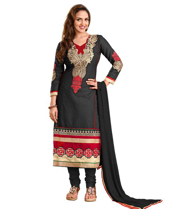 Sai Enterprise Black & Red Cotton Salwar Suit