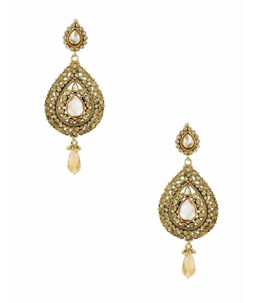 Orniza Amazing Champagne Shade Polki Earrings