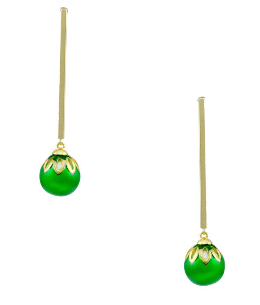 Orniza Divine Matt Stick Earrings with Green Drop