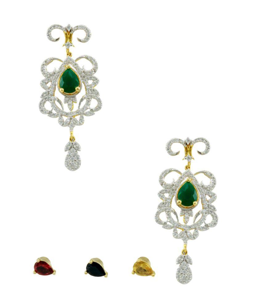 Orniza Royal Changeable CZ Drop Earrings