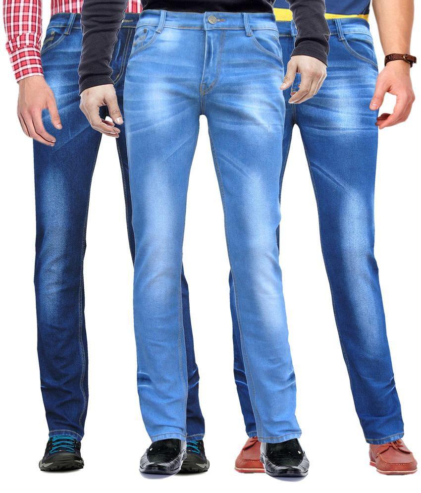 WP Combo Of 3 Blue Cotton Blend Slim Fit Jeans For Men