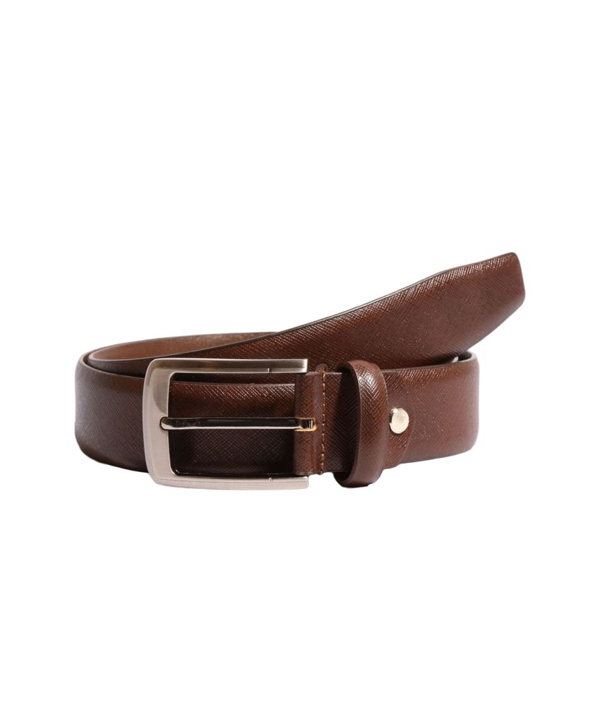 Ekvi brown Leather single Formal Textured Belt