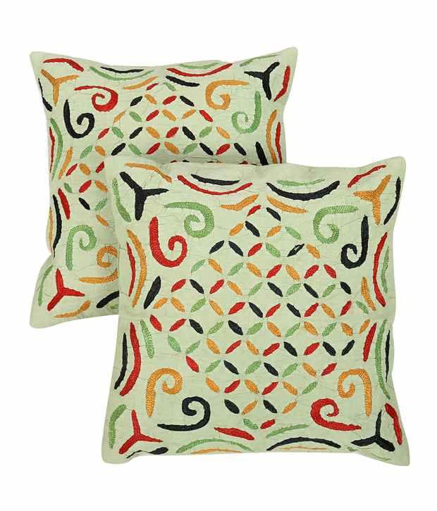 Rajrang Pistachio Green Cotton Abstract Pattern Applique Cushion Cover- Set of 2 Pcs