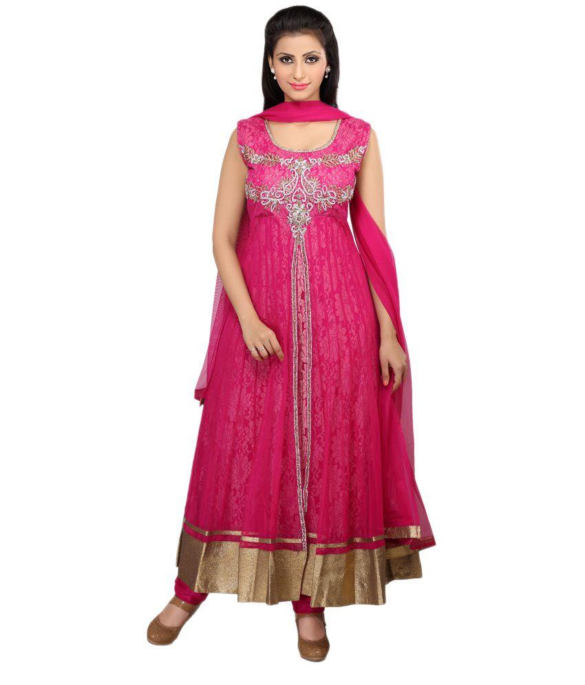 Smartlady Fuschia Net Partywear Salwar Suit