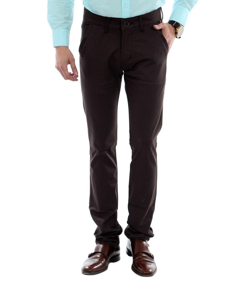 Unison Brown Cotton Lycra Slim Fit Casual Trouser