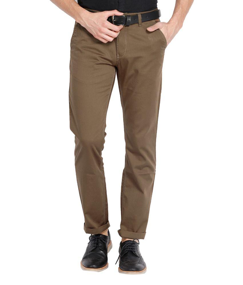 Highlander Cotton Brown Slim Chinos Casual Trouser