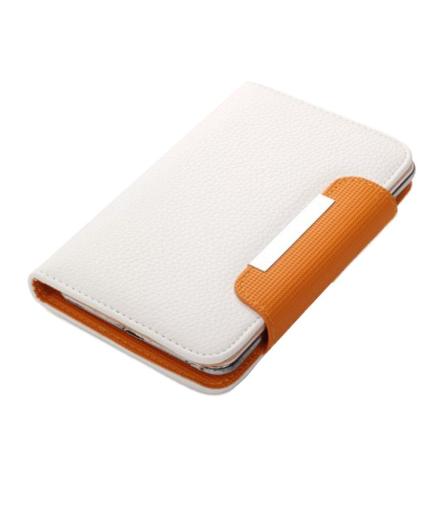 Jo Jo Z Series Magnetic High Quality Universal Phone Flip Case Cover For Lg Optimus Vu F100S - White Orange