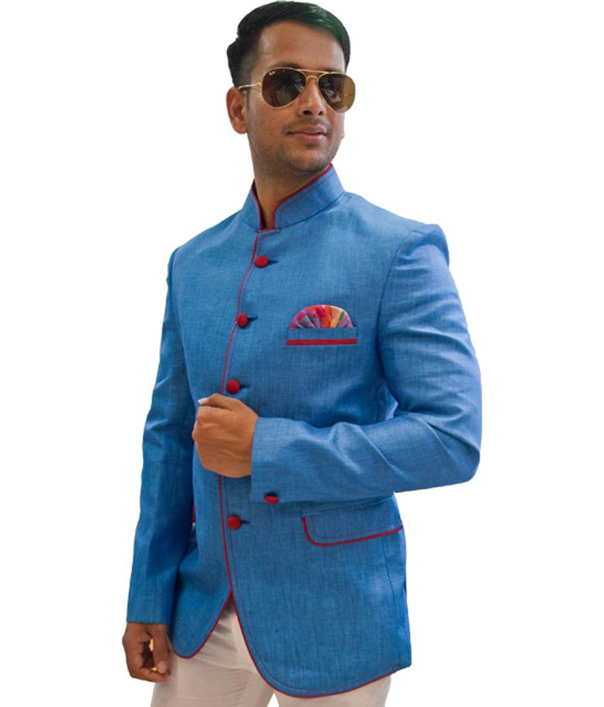 Subhash Next Mens Boutique Blue Party Wear Linen Blazer Buy