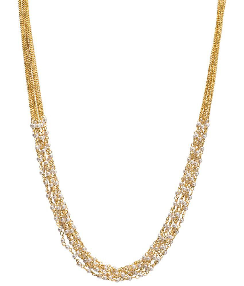Utsokt Golden & White Pearl Necklace
