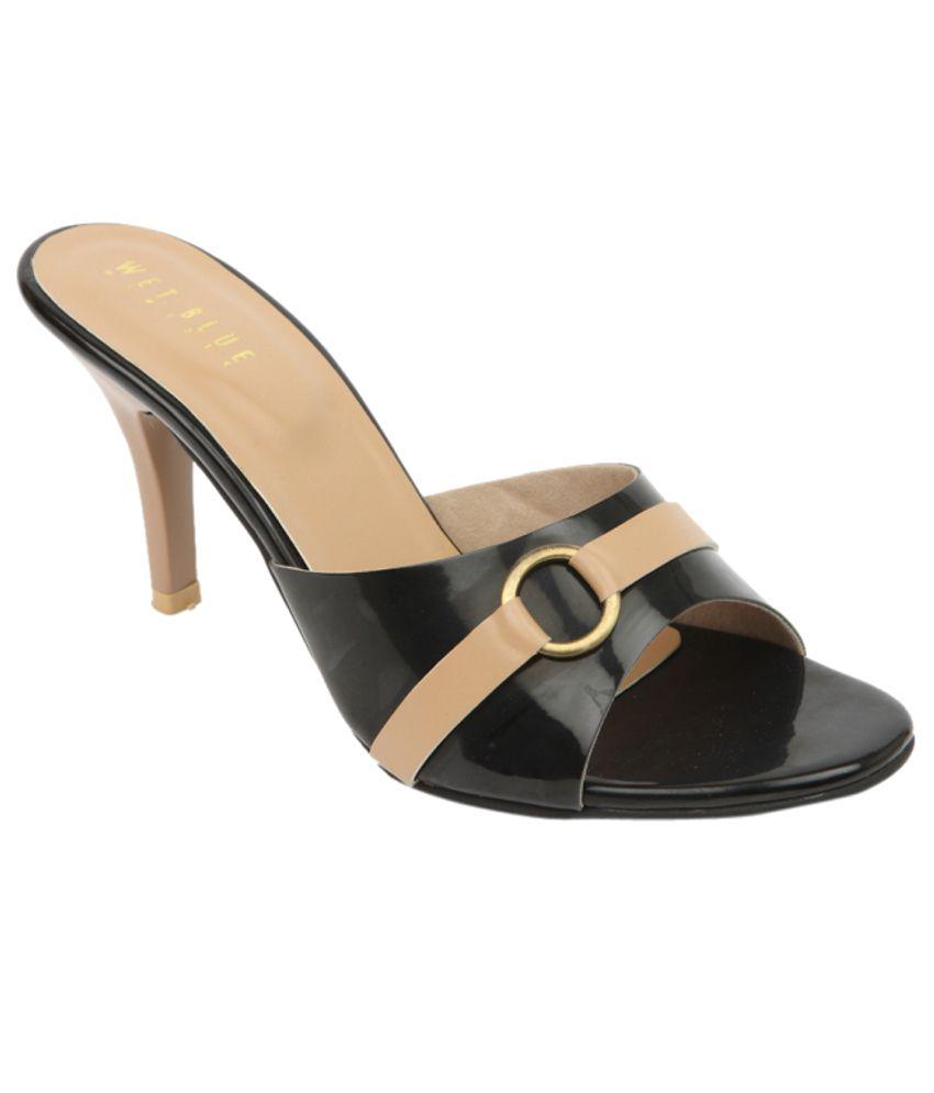 Wet Blue Classy Black Heeled Slip-Ons