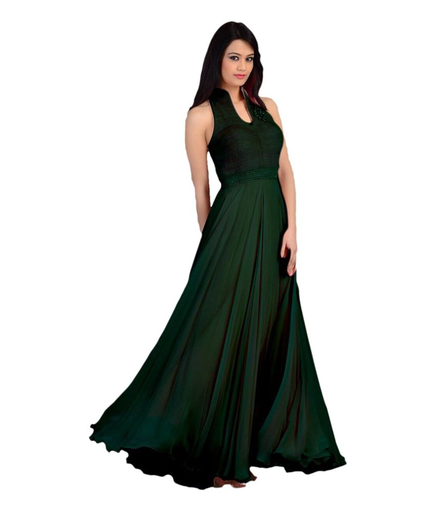 dac211ca3934 Chocolate Veera Green Velvet Party wear Long Gown - Buy Chocolate Veera  Green Velvet Party wear Long Gown Online at Best Prices in India on Snapdeal