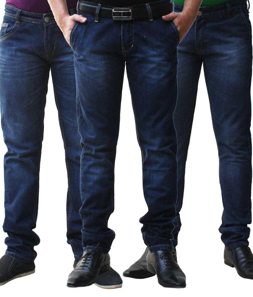 Club Vintage Cotton Black Slim Fit Jeans - Combo of 3