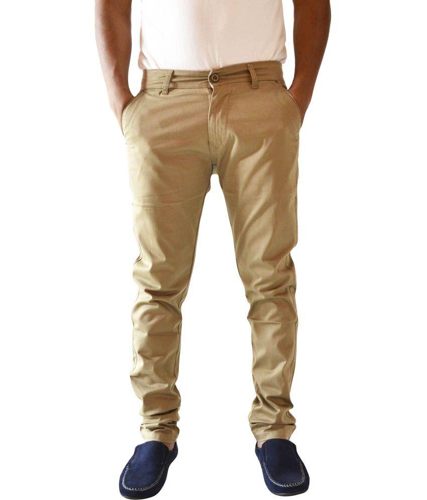 Denim Kraft Beige Cotton Slim Fit Basics Jeans
