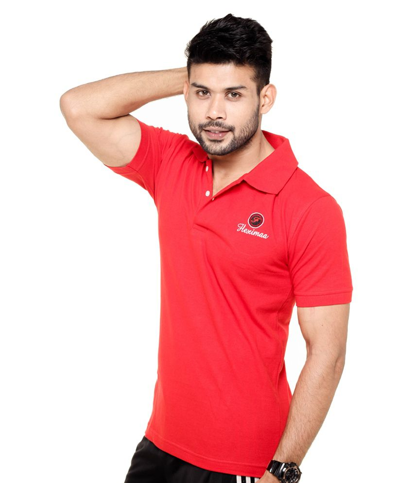 Black t shirt red collar -  Fleximaa Black Red Collar Polo T Shirts Pack Of