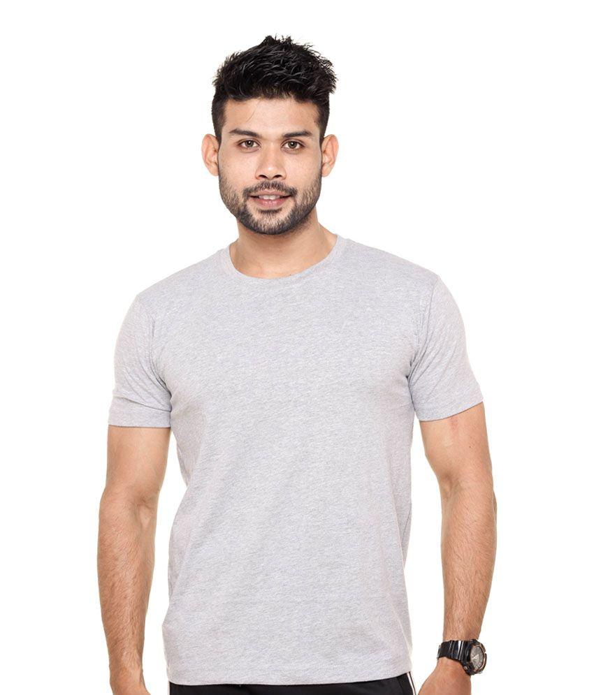 Fleximaa Round Neck Gray T shirt
