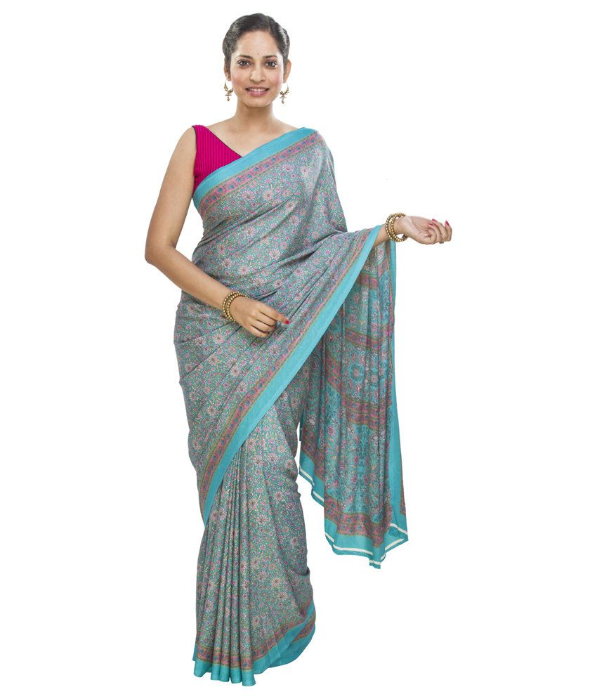 Jashn Blue Art Crepe Saree