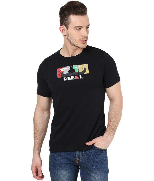Mens Casual Tshirt - Printed - Black Color Cotton Round Neck Tshirt - Nirvana