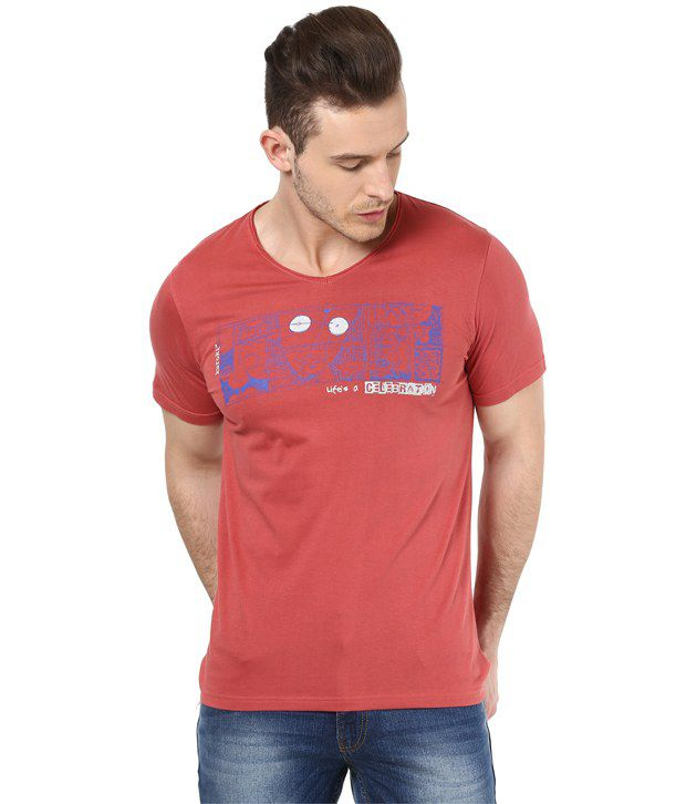 Mens Casual Tshirt - Printed - Coral Color Cotton Round Neck Tshirt - Nirvana