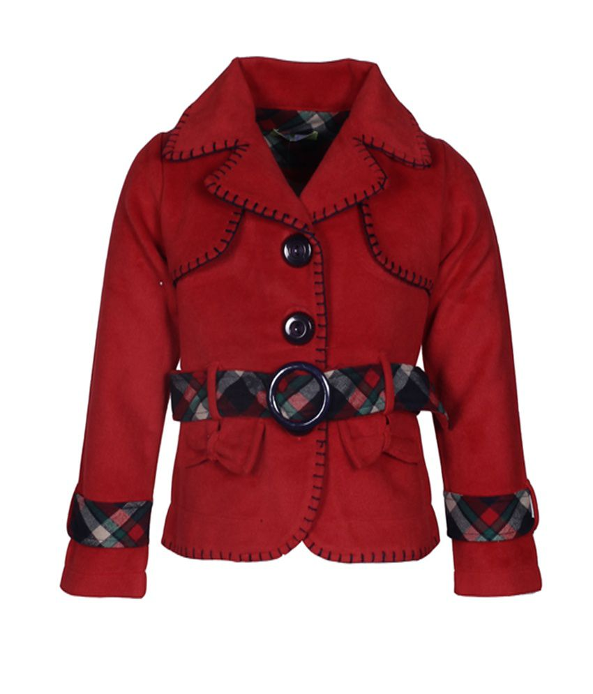 Cutecumber Red Full Sleeves Coat Without Hood