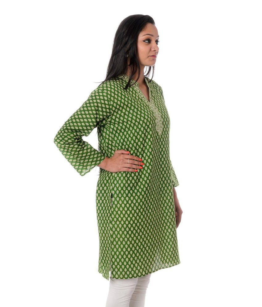 Ramasa Green Printed Knitted Chinese Collar Cotton Kurti