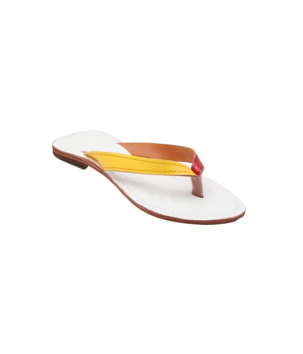 Royal Collection White Faux Leather Ethnic Flat Slip On